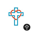 heart and cross love religion theme logo