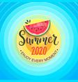 hello summer 2020 sun sky and watermelon vector image vector image