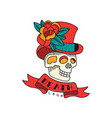 human skull in top hat with flowers ribbon and vector image