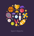 Icons and in Flat Design Style Sports Equipment vector image vector image