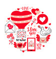 love letters lettering dove flowers - set for vector image vector image