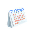 paper desktop calendar cartoon vector image