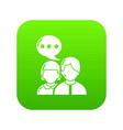 people conversation icon green vector image vector image