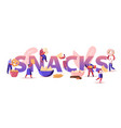 people eating snacks concept tiny male and female vector image