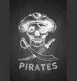 pirate skull with cross swords vector image