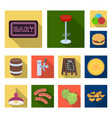 pub interior and equipment flat icons in set vector image vector image
