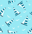 seamless pattern with yacht and seagulls vector image vector image