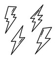 set hand drawn doodle electric lightning bolt vector image vector image