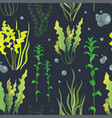 set of underwater green sea seaweeds pattern vector image vector image