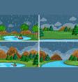 set raining in park vector image vector image