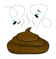 Smelly poop with flies vector image vector image