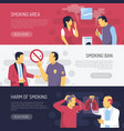 smoking health risks horizontal banners vector image vector image