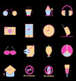 Teenage colorful icons on black background vector image vector image