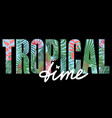 tropical time t-shirt print with exotic plants vector image vector image