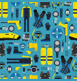 underwater diving equipment pattern or vector image vector image