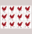 walking red hen animation sprite sheet isolated vector image vector image