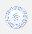 white plate with hand drawn floral ornament bezel vector image vector image