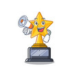 with megaphone cartoon star trophy in character vector image vector image