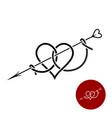 heart with arrow tattoo style linear logo vector image