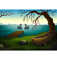 A boat under the tree near the sea with two ducks vector image vector image