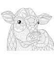 adult coloring bookpage a cute head of calf image vector image