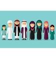 Arab family flat muslim characters vector image vector image