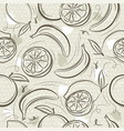 beige seamless patterns with bananas oranges vector image vector image