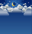 calm moon and clouds scenery vector image vector image