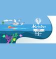 cartoon pretty girl swimming in blue ocean vector image vector image