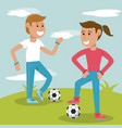 couple kids practicing soccer sport vector image