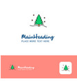 creative christmas tree logo design flat color vector image
