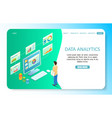 data analytics landing page website vector image vector image