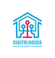 digital smart house - logo template concept vector image