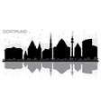 dortmund germany city skyline black and white vector image vector image