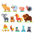 farm animals set domestic farming vector image vector image