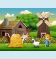 farmers keeping animals on farm vector image vector image