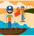 fishing people cartoon vector image vector image
