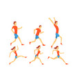 flat set of people in running action vector image vector image