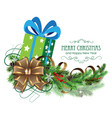green christmas present with bow and fir branch vector image vector image