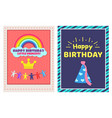 happy birthday little princess two festive posters vector image