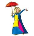 Happy singing woman in crown with umbrella vector image