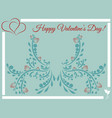 happy valentines day post card heart and roses vector image