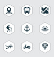 journey icons set with diving moped sunset and vector image