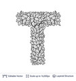 letter t symbol of white leaves vector image vector image