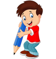 little boy holding pencil vector image vector image