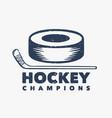 logo design hockey champions with hockey puck vector image vector image