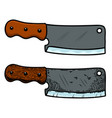 meat cleaver in engraving style design element vector image
