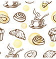 pattern with coffee cup and croissant vector image vector image