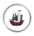 Pirate ship icon in cartoon style isolated on vector image vector image