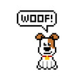 pixel style dog says woof 8-bit vector image vector image
